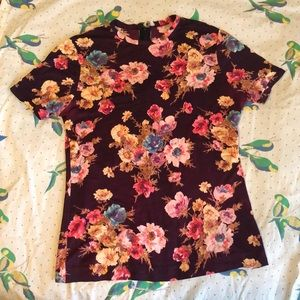 Vintage handmade floral top with zipper back